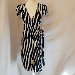 DVF Puff Sleeve Zebra Print Wrap Dress