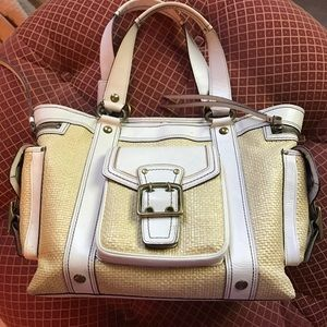 Coach straw & white leather carryall tote purse