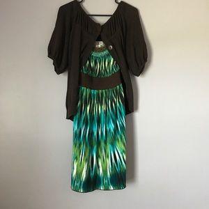 Beaded collar mini dress with brown cardigan XL