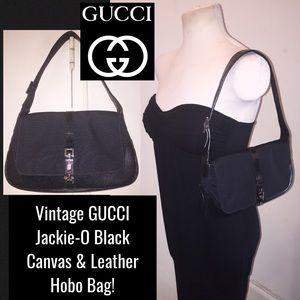 VTG GUCCI Jackie-O Black Canvas & Leather Hobo Bag