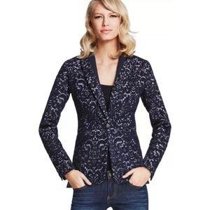 CAbi Blazer Size 10 Navy Blue Textured Suit Jacket