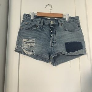 Distressed patchwork BDG shorts