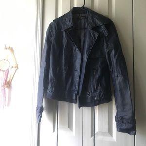 Zara Navy Faux Leather Jacket