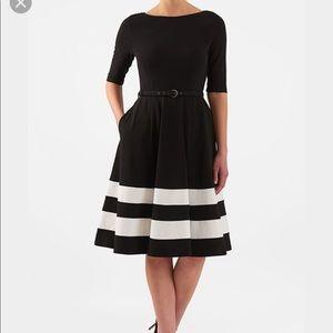 Black & white striped belted dress