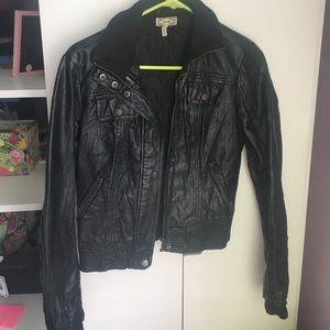 Black faux Kirra leather jacket