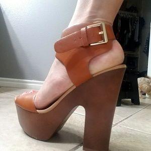 tan wooden platform heels
