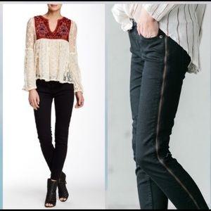 Free People Levon Zipper Skinny Jeans