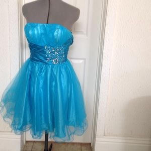 Blue Embellished Strapless Cocktail Dress