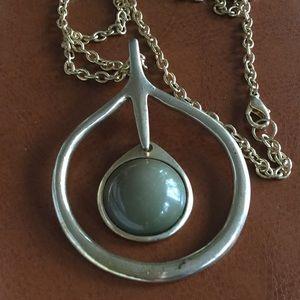 Jewelry - Vintage 1960's Necklace, Green Pendant.FlowerChild
