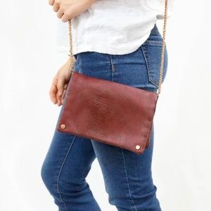 Urban Outfitters Maroon Leather Crossbody Clutch