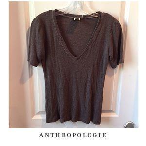 Anthropologie H by Bordeaux Brown V-Neck