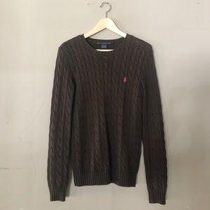 Ralph Lauren Sport Brown Cable Sweater