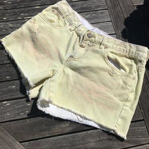 Free People Yellow Green Denim Jean Shorts 25