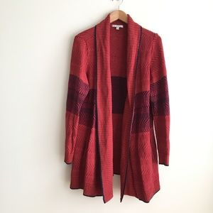 CAbi #897 Joy Cardigan Long Sweater Red Open Front