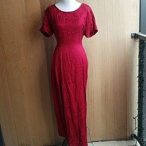 Vintage burgundy floral maxi dress