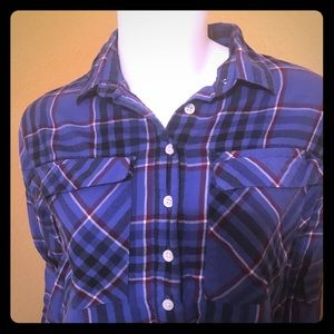 Tops - OLD NAVY 1/2 Button Up Hi-Low Pull-Over Flannel
