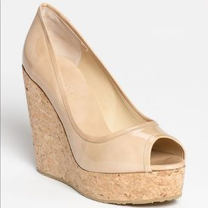 Papina patent leather and cork wedges.