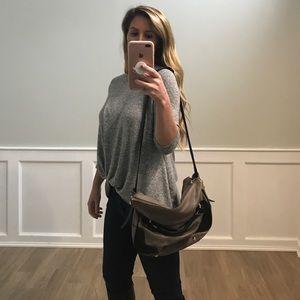 J. Crew Gray leather shoulder bag
