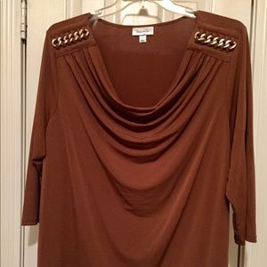 Rust Top with Gold Chain Accents