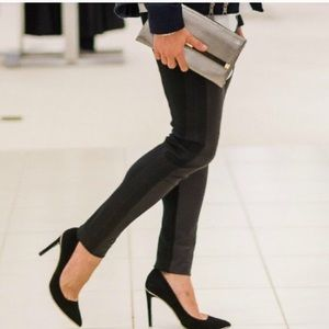 ZARA Faux Leather & Suede Black Leggings Size L