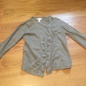 Light gray button down v neck sweater