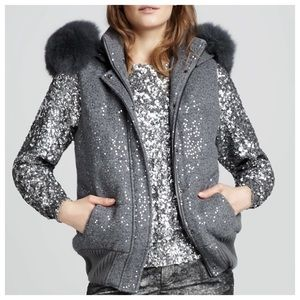 Alice + Olivia Gray Wool Sequin Fur Zip Puff Vest