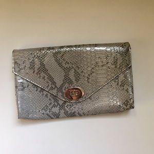 H&M silver metallic snakeskin envelope clutch