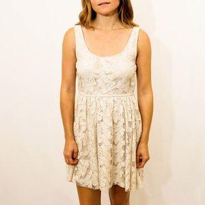 Zara Cream Lace Scoop Neck Sundress Size M