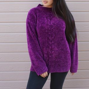 VINTAGE Purple Soft Knit Oversized Sweater