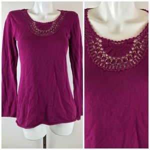 Athleta Wainscott Sweater Raspberry Organic Cotton