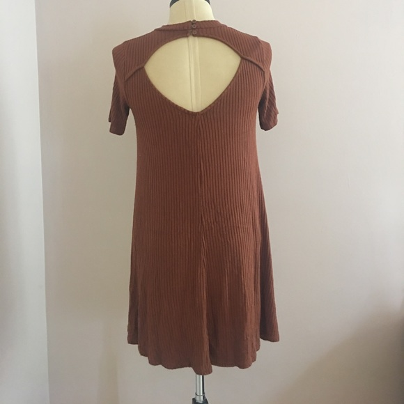 2849965f446c American Eagle Outfitters Dresses | Aeo Soft Brown Ribbed Mock Neck ...