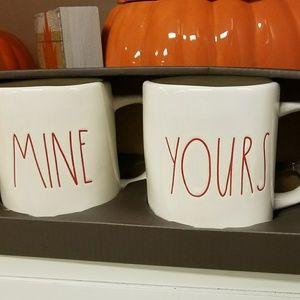 """New Rae Dunn """"MINE"""" and """" YOURS"""" Mug Set"""