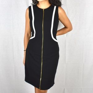 Calvin Klein black office dress with White piping