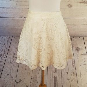 Aeropostale Cream Floral Lace Skirt