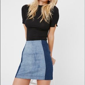 Free People two tone denim mini skirt