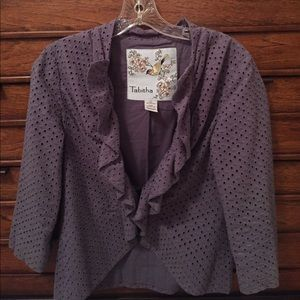 Blue Eyelet Jacket - Anthropologie Size 6