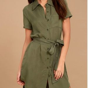 Green wrap shirt dress