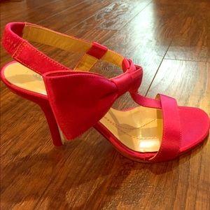 •Kate Spade• Satin Fuscia Ankle Strap Bow Heels