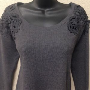 Gray Crochet Lace Relaxed Fit Thermal Top
