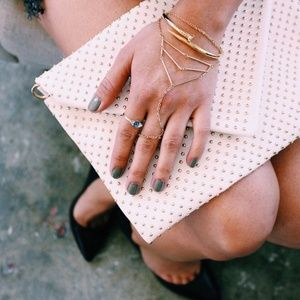 White Studded Envelope Clutch (Faux Leather) NWT