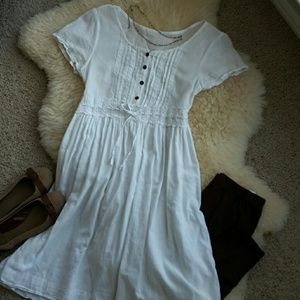 Vintage Dresses - Vintage Handkerchief Cotton & Lace Dress