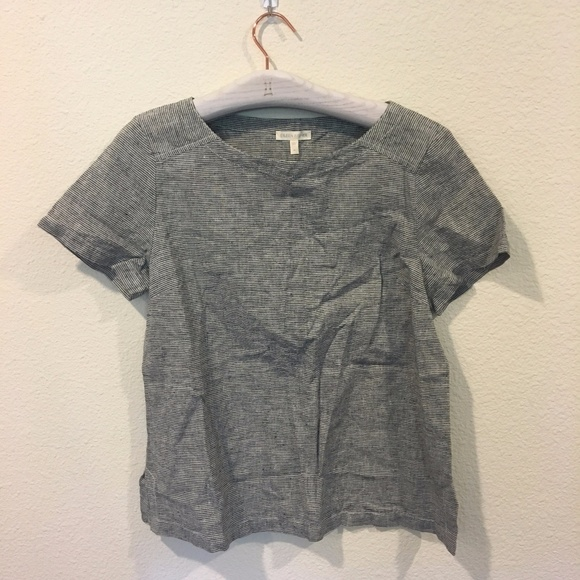 Eileen Fisher Tops - Eileen Fisher gray and white striped shirt
