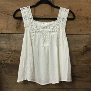 Skies Are Blue Cream Sleeveless Lace Yoke Tank Top