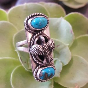 Super Cool Vintage Sterling Turquoise Peyote Ring