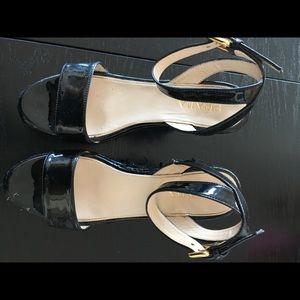 Authentic Prada patent woven wedge sandals.