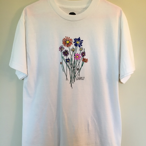 Urban outfitters tops gnarly white t shirt with flowers poshmark urban outfitters gnarly white t shirt with flowers mightylinksfo