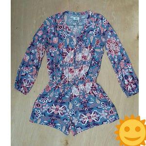 Old Navy blue floral romper long sleeve medium