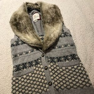 Jackets & Blazers - Faux fur button down vest with sweater detail