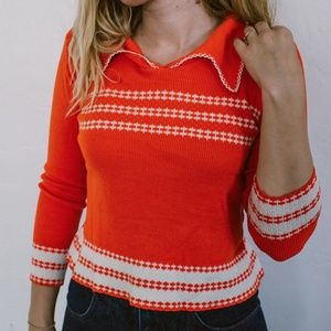 Vintage 70's knit, collared top