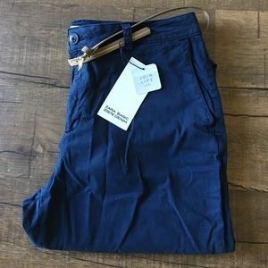 Navy Blue Chinos With Belt
